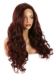 99J Bouncy Curly Long Soft Lace Front Wig Natural Wine Red Burgundy Glueless Heat Resistant Synthetic Hair