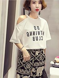 Tee-shirt Femme,Lettre Quotidien simple Manches Courtes Epaules Dénudées Coton