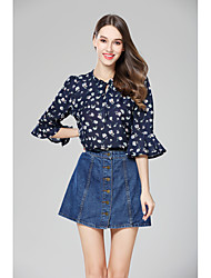 Women's Going out Holiday Vintage Cute Summer Blouse,Floral V Neck ¾ Sleeve Chiffon Medium