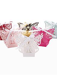 50pcs Laser Cut Butterfly Wedding Favors Box Candy Box 6 color