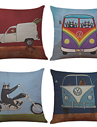 Set of 4 Cartoon Cats and Dogs Pattern  Linen Pillowcase Sofa Home Decor Cushion Cover
