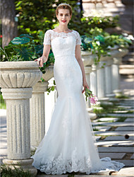Mermaid / Trumpet Jewel Neck Sweep / Brush Train Lace Tulle Wedding Dress with Beading Appliques Sash / Ribbon by LAN TING BRIDE®