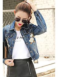 Women's Casual/Daily Simple Summer Denim Jacket,Solid Shirt Collar Long Sleeve Short Linen
