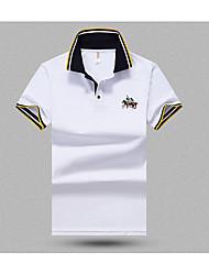 Masculino Camiseta Casual SimplesSólido Algodão Colarinho de Camisa Manga Curta