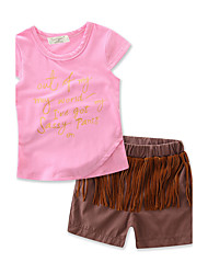 Girls Fashion Tassel Sets100%Cotton Summer Short Pant Baby Clothes Kids Clothing Set