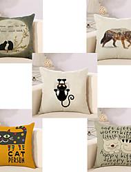 Set Of 5 Creative Animals Printing Pillow Cover Cotton/Linen Sofa Cushion Cover Home Decor Pillow Case