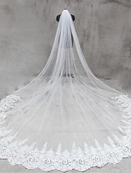 Véus de Noiva Uma Camada Véu Catedral Borda com aplicação de Renda Rede Tule