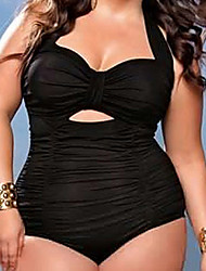 Ladies' Plus Size Straped One-piece Solid Solid
