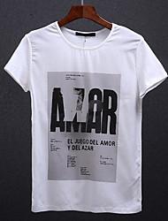 Herren Muster Einfach Alltag T-shirt,Rundhalsausschnitt Kurzarm Baumwolle