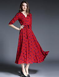 SUOQI Women Dresses Going out Beach Holiday Swing Dress V Neck  Length Sleeve Bow Accept Waist Print Dress