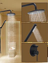 Rond Système de douche Montage mural with  Soupape céramiqueBronze huilé , Robinet de douche