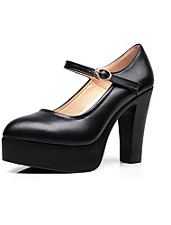 Women's Heels Work Office/Business Leather Spring/Fall Business Chunky Heel Black 3in-3 3/4in