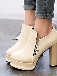 Damen High Heels Komfort PU Frühling Normal Komfort Weiß Schwarz 5 - 7 cm