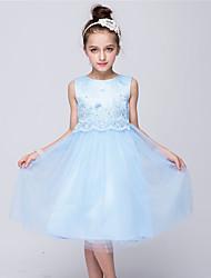 Princesse Mi-long Robe de Demoiselle d'Honneur Fille - Satin Tulle Bijoux avec Noeud en satin Dentelle Détail Perle Volants