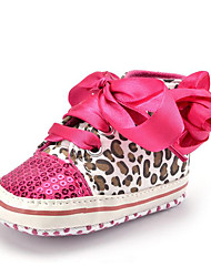 Newborn Baby Girls' Kids' Sneakers First Walkers Synthetic Fabric Fall Winter Party & Evening Dress Casual Sequin Ribbon Tie Animal Print Flower