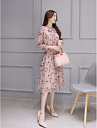 Women's Going out Valentine's Day Cute Swing Dress,Floral Crew Neck Midi Long Sleeve Others Spring Summer High Rise Inelastic Medium