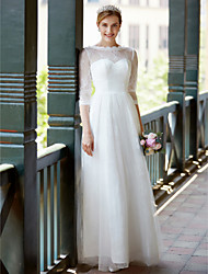 A-Fu A-line Wedding Dress Simply Sublime Floor-length Jewel Lace Tulle with Sash / Ribbon Bow