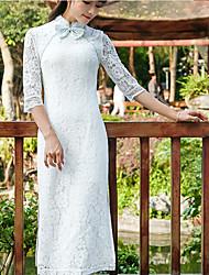 Feminino Rendas Vestido Vintage Sólido Colarinho Chinês Médio Manga ¾ Renda Verão Cintura Alta Sem Elasticidade Média