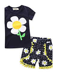 Для девочек Наборы 100% хлопок Мода Геометрический принт Лето Краткое Пант Набор одежды
