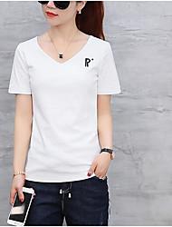 Damen Buchstabe Einfach Alltagskleidung T-shirt,V-Ausschnitt Sommer Kurzarm Baumwolle