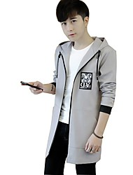 Men's Daily Casual Simple Nature Inspired Spring/Fall Jacket,printing Hooded Long Sleeve Long Polyester Taffeta