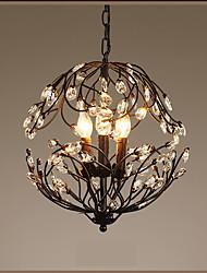 Luzes Pingente ,  Lanterna Pintura Característica for Cristal Estilo Vela Metal Sala de Estar Interior Corredor 3 lâmpadas
