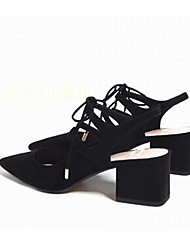 Women's Sandals Comfort Suede Spring Casual Navy Blue Black Flat