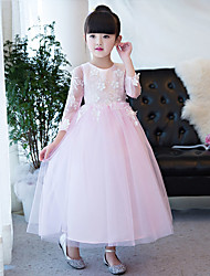 Princess Ankle-length Flower Girl Dress - Lace Tulle Jewel with Appliques Lace