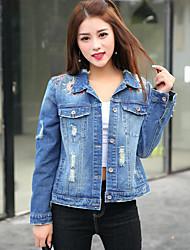Women's Daily Cowboy Spring Denim Jacket,Solid Mesh Shirt Collar Long Sleeve Regular Denim