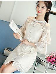 Mujer Primavera Verano T-Shirt Vestidos Trajes,Escote Redondo Microelástico
