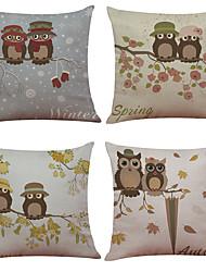 Set of 4 Cute Owl Pattern  Linen Pillowcase Sofa Home Decor Cushion Cover(18*18)