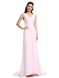 TS Couture Prom Dress - Elegant Sheath / Column V-neck Sweep / Brush Train Chiffon with Pleats