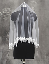 Bride Bridesmaids White / Ivory Wedding Veil One-tier Fingertip Veils Lace Applique Edge Tulle Netting