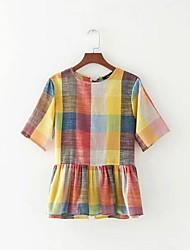 Damen Grid /-Plaid-Muster Sexy Einfach Street Schick Ausgehen Lässig/Alltäglich T-shirt,Rundhalsausschnitt Sommer Kurzarm BaumwolleDünn