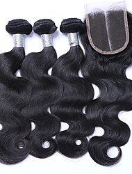 Natural Color Body Wave Hair Bundles with Lace Closure 10-26inch Brazilian Hair with Closure Middle Part