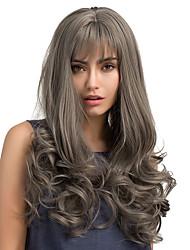 Hot Sale Frivolity Bangs Grey Long Curly Hair Synthetic Wig