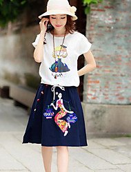Women's Going out A Line Dress,Print Asymmetrical Knee-length Sleeveless Cotton Summer Low Rise Inelastic Thin