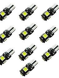 10pcs ba9s t4w / w5w t10 tableau noir 2w 5 * 5050 smd led lampe de lecture de lumière blanche 6500-7000k 12v