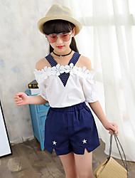 Девочки Наборы Хлопок Горошек Пэчворк Лето С короткими рукавами Набор одежды