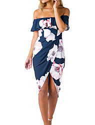 Women's Casual/Daily Work Sexy Simple Sheath Dress,Solid Print Off Shoulder Asymmetrical Short Sleeve Polyester All Seasons Low Rise