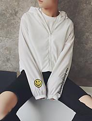 Men's Daily Modern/Comtemporary Summer Jacket,Solid Round Neck Long Sleeve Regular Polyester