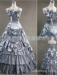 One-Piece/Dress Vintage Inspired Elegant Princess Cosplay Lolita Dress Silver Solid Color Floor-length Skirt Dress ForOther Material