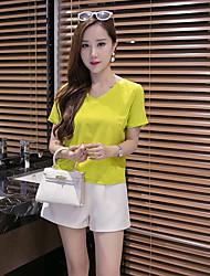 Damen Solide Einfach Alltag T-shirt,V-Ausschnitt Kurzarm Baumwolle