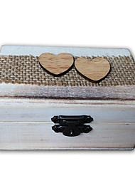 Wood linen with a love rectangle ring box - grey