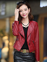 Women's Casual/Daily Simple Spring Leather Jacket,Solid Notch Lapel Long Sleeve Short PU
