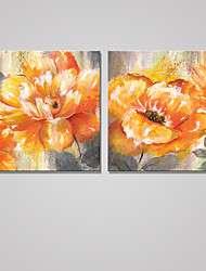 Stretched Canvas Print Floral/Botanical Modern Pastoral,Two Panels Canvas Square Print Wall Decor For Home Decoration