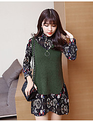 Women's Going out Casual/Daily Vintage Cute Spring Fall Blouse,Floral Stand Long Sleeve Chiffon Medium