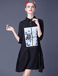 Dámské A Line Šaty Tisk Košilový límec Nad kolena Polyester Spandex Léto High Rise Lehce elastické Tenké