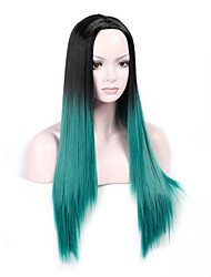 Heat Resistant Cosplay Black To Green Mixed Color Synthetic Wig Ladies Women Party Straight Hair Full Wig Daily Wearing