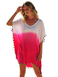 Damen Tunika Kleid-Ausgehen Einfach Einfarbig Rundhalsausschnitt Übers Knie Kurzarm Polyester Elasthan Sommer Hohe Hüfthöhe Unelastisch